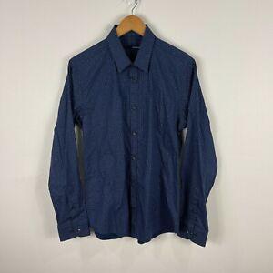 Gibson Mens Button Up Shirt Size Medium Slim Blue Polka Dot Long Sleeve 39.04