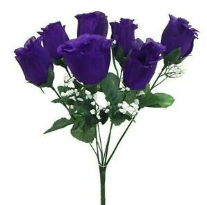 7 Purple Rose Buds Artificial Flowers Silk Wedding Bouquet Fake Faux Party Decor