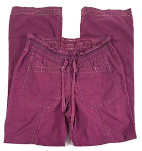 Koi By Kathy Peterson Womens XS Wine Cotton Blend Scrub Pants #703