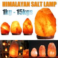 Himalayan Salt Lamp Natural Crystal Rock Shape Dimmer Switch Night Light 1-15 kg