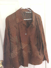 Chico's Design Golden Amber Embrodiery  Size 3 100% Silk Jacket  Unlined