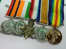 More details for replica boer war and world war 1 medals, full size with ribbon, qsa, ksa