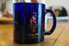 Cobalt Blue Glass Olympic Souvenir 1996 Atlanta Mug