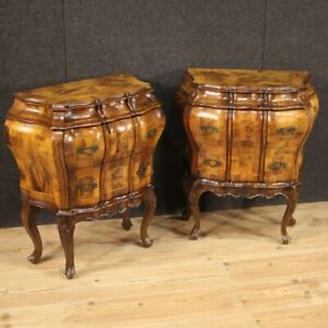 Pair Of Bedside Tables Veneti Furniture Coffee Wood Briar Antique Style Room 900