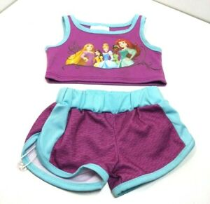 Build A Bear Clothes Disney Princess Top And Shorts Purple Blue Trim Girls