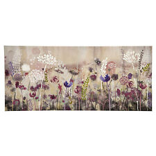 Large Floral Rose Summer Meadow Canvas Pink Purple White Green Wall Art Picture