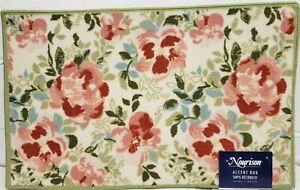 "PRINTED NYLON RUG (nonskid)(18x30"") FLOWERS, green borders, NR"