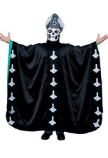 """Papa Emeritus ll"" Robe Blk Poly Satin Heavy Metal Band ""Ghost"" Costume Robe OS"