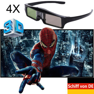 4x Aktiv Shutter 3D-Brille für BenQ Optoma 3D DLP-Link Projektor USB Aufladung