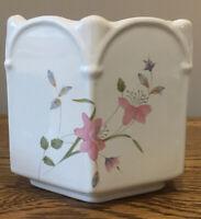 Vintage Plant Pot Staffordshire Pottery Ceramadad13x14.5 Cm.Hexagon. Pink