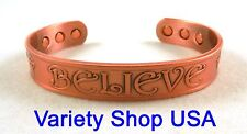 "'Believe' Pure Copper 1/2"" Wide Religious Magnetic Therapy Bangle Cuff Bracelet"