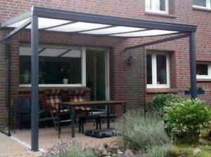 Terrassendach 5 x 3m Alu anthrazit  VSG Glas 8mm Terrassenüberdachung