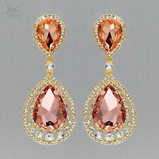 18K Gold Plated GP Peach Crystal Rhinestone Wedding Drop Dangle Earrings 04841
