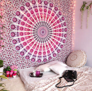 Mandala Tapestry Indian Hippie Wall Hanging Bohemian Queen Pink Peacock Throw