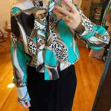 Vintage Equestrian Turquoise Animal Ruffle Blouse