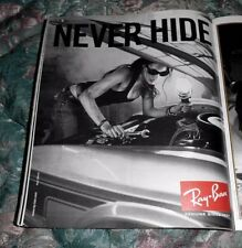 2008 Mint Print Ad Poster Ray Ban Never Hide Woman under Car Hood Mechanic 12x10