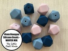 12 x 14mm Silicone Beads Hexagon WINTER Bead Mix Necklace Sensory (was teething)