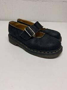 SOLOVAIR Doc Marten Mary Jane Black Leather Strap Buckle Shoes Womens UK 6 US 7