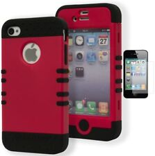 For iPhone 4 Hybrid Rugged Black Cover Red Pink Magenta Case+Screen Protector