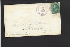 CHAUNCY,OHIO COVER,1882. JOHN MOURN P.M. CL IN DIAL, PURPLE DCDS..