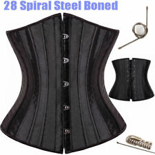 28 Spiral Steel Boned Corset Waist Training Underbust Lingerie Waspie Black USPS