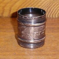 Antique TARNISHED Silverplate Napkin Ring - Monogrammed