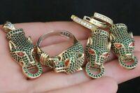 925 Sterling Silver Handmade Gemstone Turkish Tiger Emerald Ladies Set