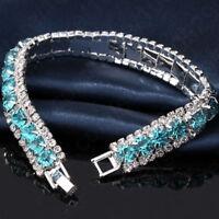 Wedding Elegant Cubic Women Chain Jewelry Bracelet Rhinestone