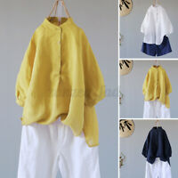 Womens Cotton Loose Blouse Ladies Buttons Tunic Tops T Shirt Pullover Plus Size