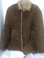 Vintage William Barry Coat Faux Fur Lining Sz 44 Brown Chore Jacket Men