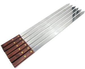 BBQ Skewer Kabob Kabab Plain Medium Classic Flat  wooden handle 420mm length