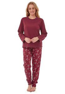 Ladies Cosy Warm Fleece Robin Check Pyjamas Pjs Nightwear Christmas Gift Idea