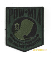 POW MIA HAT PATCH US ARMY MARINE NAVY AIR FORCE VETERAN TACTICAL SUBDUED GREEN