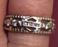 RARE! Stamper White Gold Harley Davidson Leaf Ring 8  Diamond Engagment Ring
