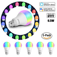 WiFi Smart Light Bulb Bulbs Dimmable LED E27 For Google Home/Alexa/IFTTT 6.5W
