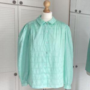 Vision Vintage Blouse Size Medium Blue Puff Shoulder Button Pastel Cottagecore