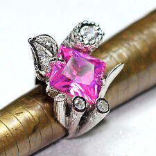 Authentic Portuguese 925 Sterling Silver White Gold plated Ring - Rose