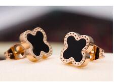 10mm Clover Black Enamel Rose Gold Stainless Steel Stud Earrings Gift Box P16