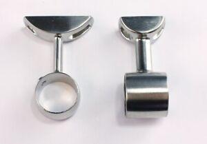 Satin Nickel Clothes Rail or Curtain Pole Ceiling Brackets. 28mm dia Poles