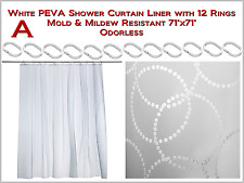 "71""x71"" White Shower Curtain with 12 Rings - Mold & Mildew Resistant Odorless"