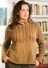 KNITTING PATTERN Ladies Cable Striped Jumper Long Sleeved Sweater Rowan Aran