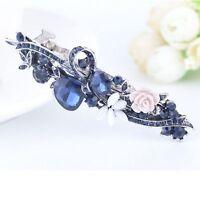 Flower Fashion Clamp Blue Rhinestone Hair Hairpin Hair Clip Headwear Barrette