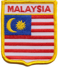 Malaysia Flag Shield Embroidered Patch Badge