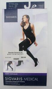 Sigvaris SL 15-20 mmHg Black Soft Opaque Compression Stockings Socks 841 Thigh