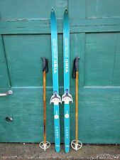 "VINTAGE Wooden 53"" Skis Has  Green Finish Signed VISU  + Bamboo Poles"