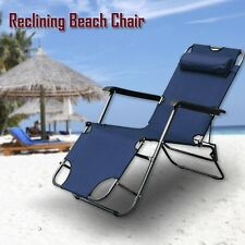 Reclining Sun Beach Deck Lounge Chair Outdoor Folding Camping Fishing Arm Rest