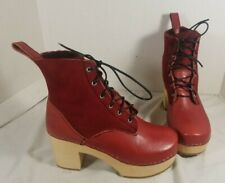 NEW HASBEENS RED LEATHER HIPPIE LACE UP BOOTS SIZE US 6 EUR 37
