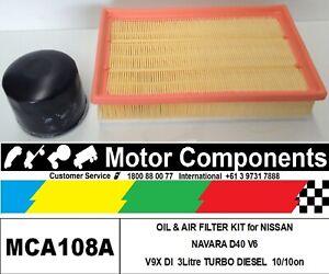 OIL & AIR FILTER KIT for NISSAN NAVARA D40 V9X V6 3Litre TURBO DIESEL 10/2010 on