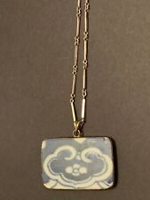 Antique Chinese Shard Pendant Sterling Silver Necklace