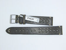 "FLUCO Genuine Vintage Leather Watch Band 18 mm Brownish-green ""HUNTER RACING"""